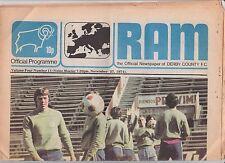 Orig.PRG   UEFA Cup 1974/75   DERBY COUNTY - VELEZ MOSTAR 1/8 FINALE  !!  SELTEN