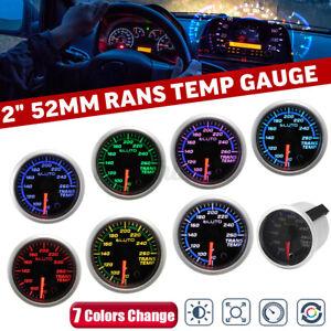"""2"""" 52mm 7 Color LED Display 80-260°F Transmission Trans Temp Gauge Meter Sensor"""