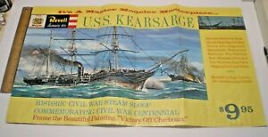 "1961 REVELL MODEL KIT "" USS KEARSARGE CIVIL WARSHIP "" STORE SIGN DISPLAY POSTER"
