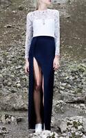 Galvan Satin Lace Long Dress