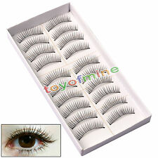 10 Pairs Natural Long Thick Black False Eyelashes Makeup Charming Eyes Lashes 12