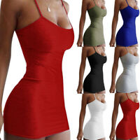 KQ_ Women Summer Spaghetti Strap Bodycon Mini Dress Women Party Club Wear Dresse