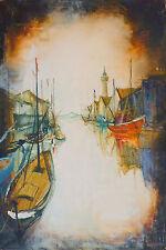 Bernard LIGNON (1928) HsT Port du Grau du Roi Nle Ecole de Paris Jeune Peinture