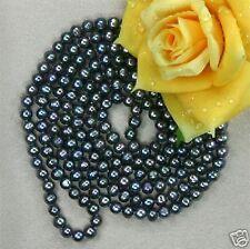 7-8mm, noir,  eau douce perle, collier, 90cm ,Pas de boutons