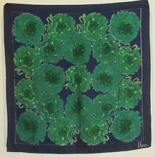 "TERRIART Navy, Green Abstract Flowers SILK 27"" Sq Scarf-Vintage VERA"