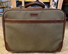 Hartmann Tweed Legend Leather Line Rolling Wheel Carry On Weekend Overnight Bag