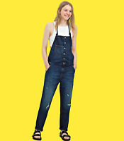 ZARA Navy Blue Denim Dungarees With Suspenders Woman BNWT Authentic S M 6688/012