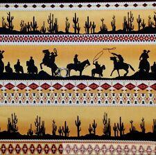 BonEful Fabric FQ Cotton Quilt Black Orange Gold Cowboy Horse Cactus Boy Stripe