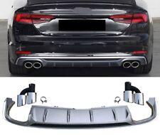 Für Audi A5 F5 16+ S5-Look Diffusor in Platin Grau + Auspuffblenden Grill #01
