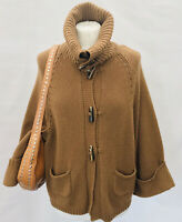 Massimo Dutti Wool, Angora, Cashmere Mix Roll Neck Toggle Cardigan Wide Sleeve M