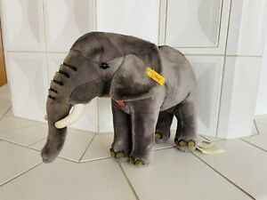 Steiff - Elefant Tierleben EAN 062513 40 cm grau Brustschild Tiere Knopf **Neu**