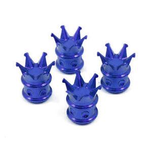 4 BLUE KING CROWN CNC BILLET ALUMINUM TIRE VALVE STEM CAPS FOR TOYOTA