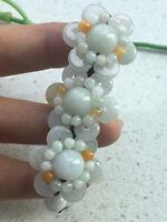 100% Natural A Jadeite Adjustable Woven Beautiful Flower Bracelet AAA 2019