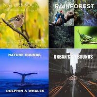 NATURAL SOUNDS CD X4 CD BUNDLE SOUNDS OF BIRDS RAINFOREST DOLPHINS CITY