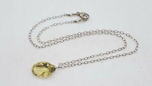 925 Silver Citrine & Pearl Pendant Necklace BT367