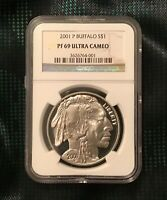 2001 P Buffalo Commemorative Silver PROOF One Dollar NGC PF69 Ultra Cameo