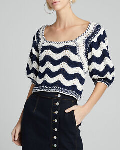 Ulla Johnson Puff Shoulders Wool Cotton Pullover L Cropped Luciana Midnight Wavy