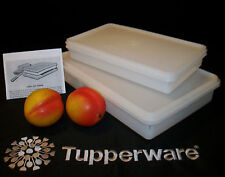 Tupperware vtg WHITE ~9x13 Cold Cut Cupcake ~7x11 Bacon Keeper ~freezer fridge