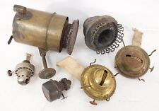 Lot of 6 Vtg Antique Oil Lamp Burners Wicks Light Metal Parts Decorative Ornate