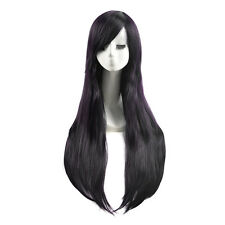 Extra Long Dark Purple Black Mixed Color Wigs Party Straight Women Hair Wig