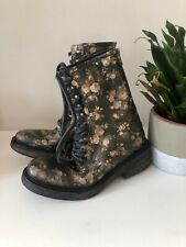 NEW Free People Santa Fe Lace Up Boot Black Size 38 US 8 Floral Combat