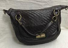 EUC Coach Kristin Woven Brown Leather Round Satchel Hobo Crossbody 19312 purse