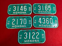 Lot Of 5 Wisconsin Bicycle License Plates; Monona; Teal; 1978-80