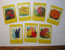 SUPER Lot of 7 - Burt's? LG  Seed Packet Envelopes FLOWERS 5 3/4 x 3 3/4 Litho