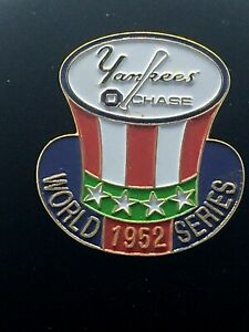 1952 YANKEES & CHASE BANK WORLD SERIES COLLECTORS PIN -Colorful and impressive!