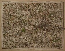 1898 LARGE VICTORIAN UK MAP : MIDDLESEX THAME BASINGSTOKE REIGATE LONDON HERTFOR
