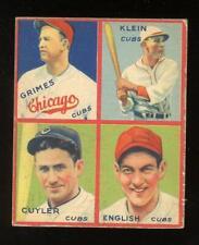1935 Goudey - Cuyler (HOF), English, Grimes (HOF), Klein (HOF) - Chicago Cubs