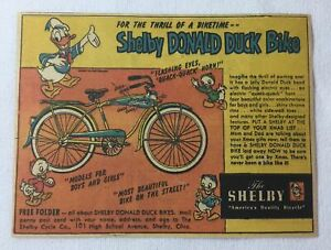 1950 Shelby DONALD DUCK bicycle cartoon ad ~ 4.5x6