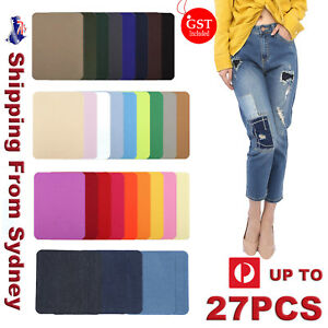 12-26x Assorted Iron On Denim Fabric Mending Patches Repair Kits For Denim Jeans