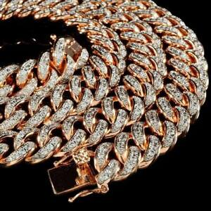 18K Rose Gold Miami Necklace Bling Out Iced Lab Diamond Cuban Chain Link 13mm