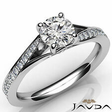 Natural Round Diamond Engagement Pave Set Ring GIA F VS2 Clarity Platinum 1.06Ct
