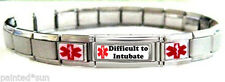 "Medical Alert DIFFICULT TO INTUBATE with 2 STAR Italian Charms 8"" Full Bracelet"