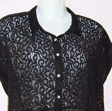 ATMOSPHERE LADIES SHORT SLEEVE LACE AND SHEER BLOUSE UK SIZE 14