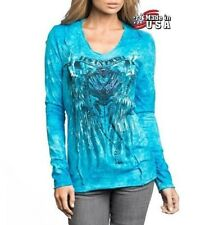 NWT AFFLICTION Sinful RAVEN Turquoise Long Sleeve T-Shirt Top Womens Small
