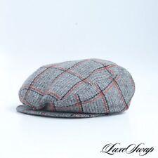 Vintage Stetson Grey Tweed Rust Black Windowpane Flat Driving Poorboy Hat Cap M