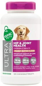 GNC Pets Ultra Mega Hip & Joint Health Chewable Tablets Dog Supplement for...