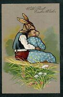 ~Dressed Rabbits in Love Sitting~on Park Bench Easter Postcard~unused~1907-k692