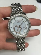 New Ladies Citizen Eco-Drive 44 Genuine Diamonds Steel 37mm Watch EV1000-58A NIB