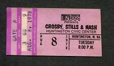 1978 Crosby Stills & Nash concert ticket stub Huntington Csn Just A Song Before