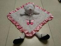 Baby Lovey Plush Teddy Bear White Pink Security Blanket