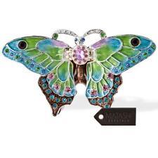 Matashi Mariposa Pintado a Mano en vuelo Ornamento con 24K Oro Y Cristales