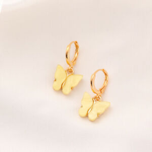 Fashion Womens Cute Butterfly Yellow Crystal Gold Drop Earring Jewelry Gifts