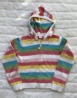 Gymboree Girls Size M (7-8) Multicolored Striped Long-Sleeve Knit Hoodie Jacket