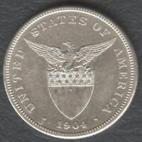 1904-S US Philippines 50 CENTAVOS US Administration Silver Coin AU Details #A1