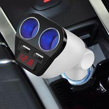White LED Double Socket Dual USB Car Charger Cigarette Lighter Splitter 12-24V