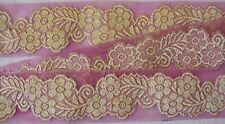 Jacquard, Organza Ribbon Trim. Gold Flowers on Crimson